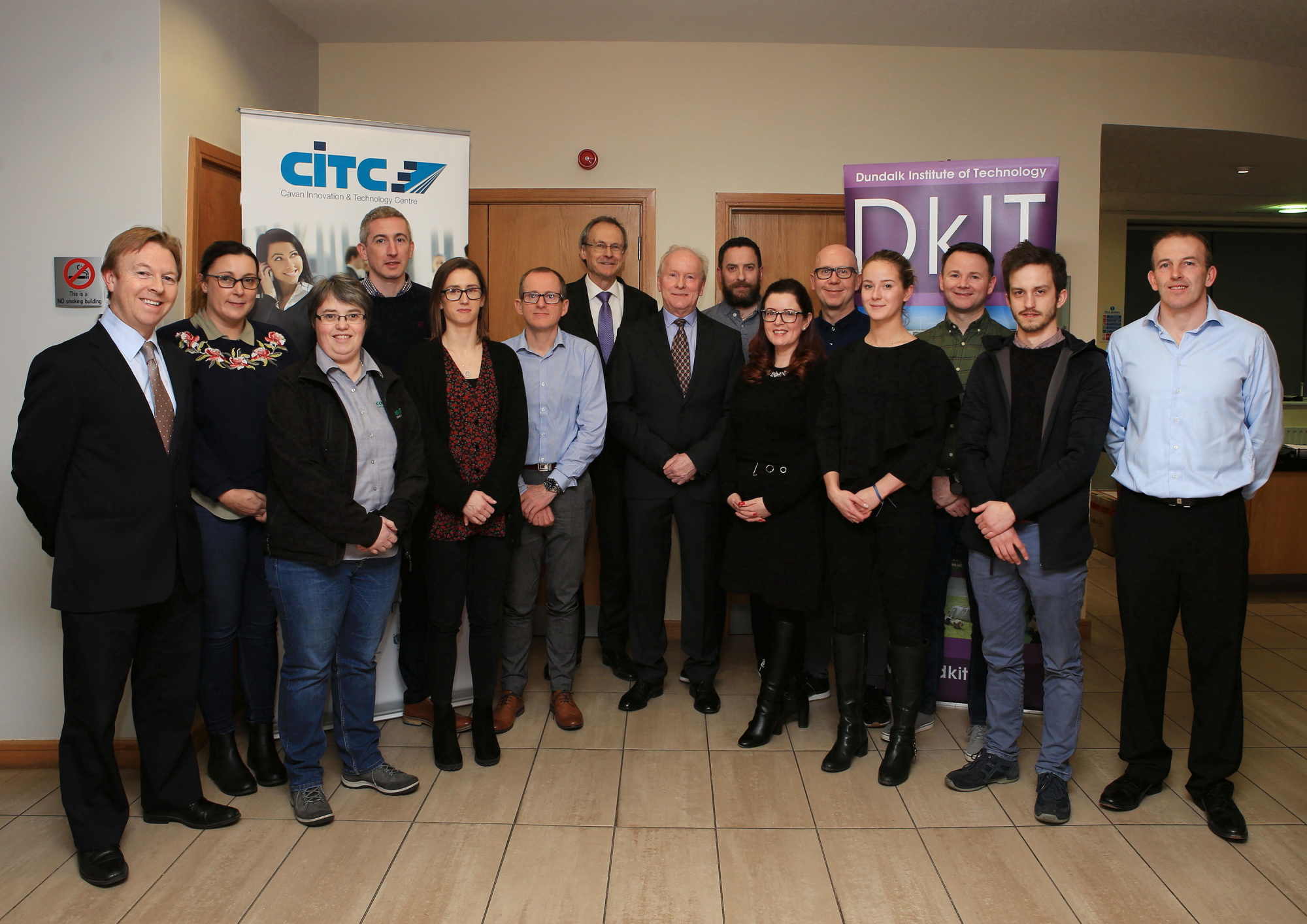 Participants of the first intake of the Cert in Data Analytics for Business meet with DkIT President, Michael Mulvey, PhD at its launch in the CITC